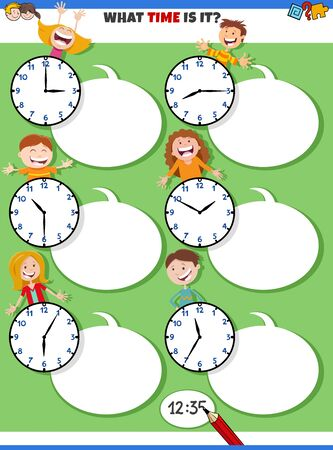 Cartoon Illustrations of Telling Time Educational Activity with Clock Face and Happy Children Characters