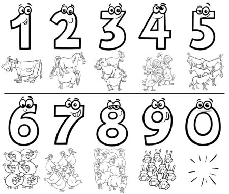 Black and White Cartoon Illustration of Educational Numbers Collection from One to Nine with Funny Farm Animal Characters Coloring Book Page