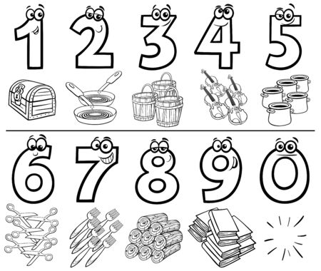Black and White Cartoon Illustration of Educational Numbers Set from One to Nine with different Objects Coloring Book Page Illusztráció