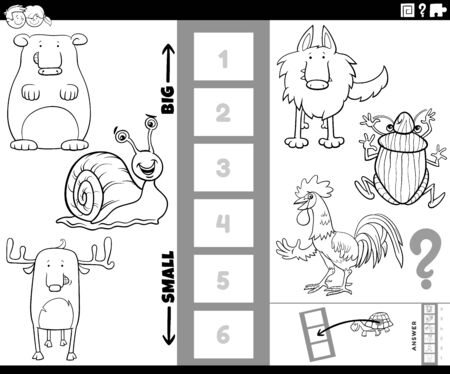 Black and White Cartoon Illustration of Educational Game of Finding the Bigest and the Smallest Animal Species with Comic Characters for Children Coloring Book Page