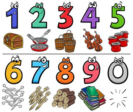 Cartoon Illustration of Educational Numbers Set from One to Nine with different Objects Illusztráció