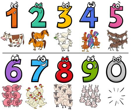 Cartoon Illustration of Educational Numbers Collection from One to Nine with Funny Farm Animal Characters Illusztráció