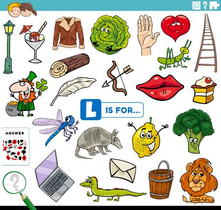 Cartoon Illustration of Finding Picture Starting with Letter L Educational Task Worksheet for Children with Objects and Comic Characters