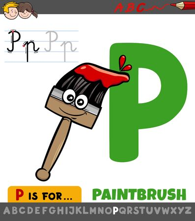 Educational Cartoon Illustration of Letter P from Alphabet with Plane with Comic Paintbrush for Children