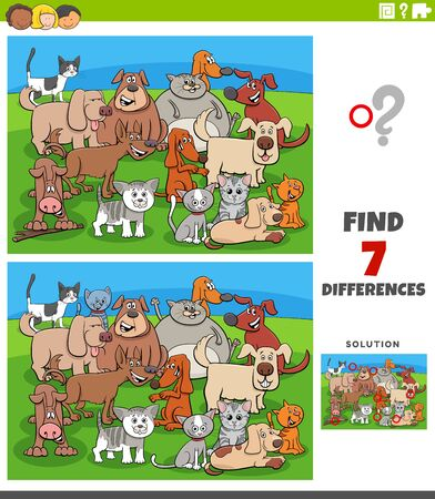 Cartoon Illustration of Finding Differences Between Pictures Educational Game for Kids with Comic Cats and Dogs Group