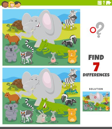 Cartoon Illustration of Finding Differences Between Pictures Educational Task for Kids with Wild Animal Characters Group