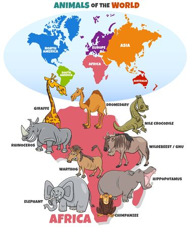 Educational Cartoon Illustration of Funny African Animals and World Map with Continents Shapes