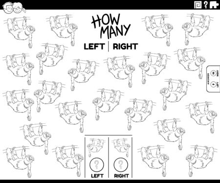 Black and White Cartoon Illustration of Educational Task of Counting Left and Right Oriented Pictures of Sloth Animal Character Coloring Book Page