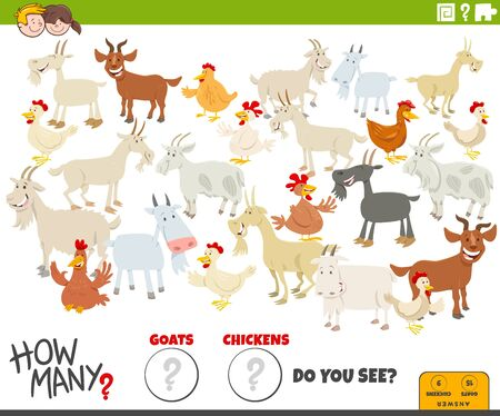 Illustration of Educational Counting Game for Children with Cartoon Funny Goats and Chickens Farm Animal Characters Group