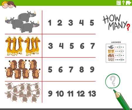 Cartoon Illustration of Educational Counting Activity for Children with Wild Animal Characters