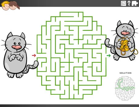 Cartoon Illustration of Educational Maze Puzzle Game for Children with Cat Character with Yarn