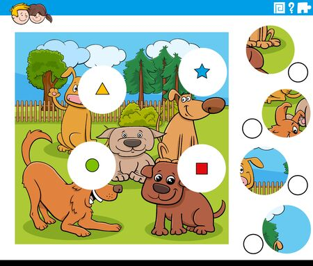 Cartoon Illustration of Educational Match the Pieces Jigsaw Puzzle Task for Children with Funny Dogs Animal Characters Group