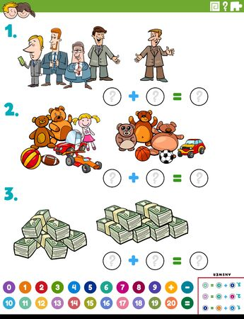 Cartoon Illustration of Educational Mathematical Addition Puzzle Task with Comic People and Objects Ilustração