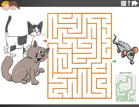 Cartoon Illustration of Educational Maze Puzzle Game for Children with Funny Cat Characters Illusztráció