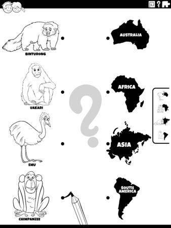 Black and White Cartoon Illustration of Educational Matching Game for Children with Wild Animal Species Characters and Continent Shapes Coloring Book Page
