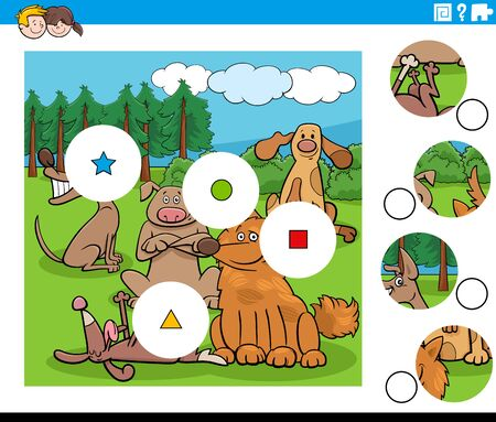 Cartoon Illustration of Educational Match the Pieces Jigsaw Puzzle Task for Kids with Funny Dogs Animal Characters Group Vektoros illusztráció