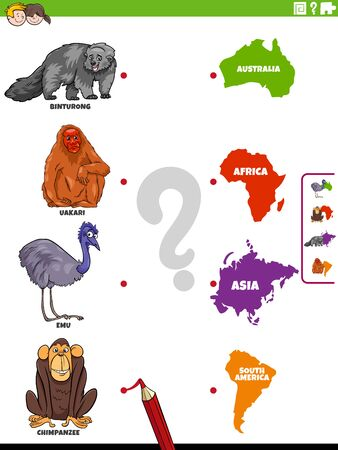 Cartoon Illustration of Educational Matching Game for Children with Wild Animal Species Characters and Continent Shapes 向量圖像