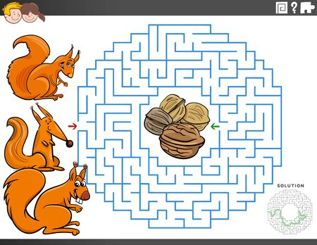 Cartoon Illustration of Educational Maze Puzzle Game for Children with Squirrel Characters and Walnuts