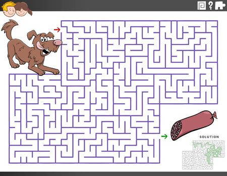 Cartoon Illustration of Educational Maze Puzzle Game for Children with Dog Character and Sausage