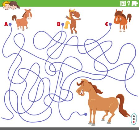 Cartoon Illustration of Lines Maze Puzzle Game with Comic Colts and Mare Horse Ilustração