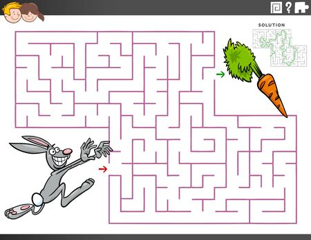 Cartoon Illustration of Educational Maze Puzzle Game for Children with Rabbit Character and a Carrot