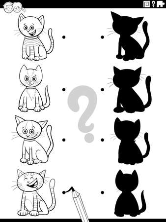 Black and White Cartoon Illustration of Match the Right Shadows with Pictures Educational Game for Kids with Cats and Kittens Characters Coloring Book Page