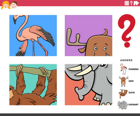 Cartoon Illustration of Educational Game of Guessing Animals Worksheet or Application for Children