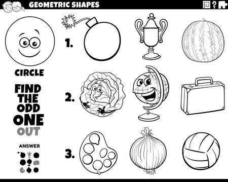 Black and White Cartoon Illustration of Circle Geometric Shape Educational Odd Obe Out Task for Children Coloring Book Page