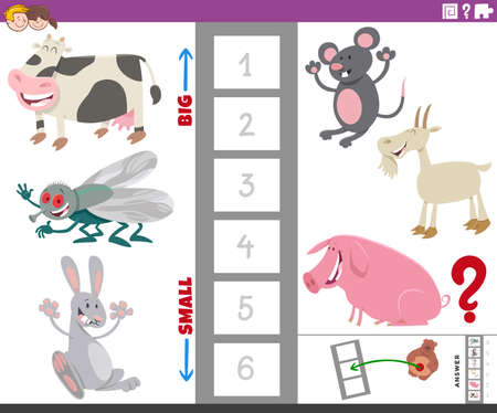 Cartoon Illustration of Educational Game of Finding the Largest and the Smallest Animal Species with Funny Characters for Children