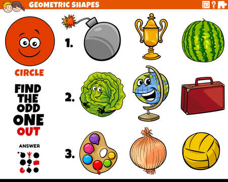Cartoon Illustration of Circle Geometric Shape Educational Odd Obe Out Task for Children