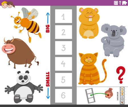 Cartoon Illustration of Educational Game of Finding the Largest and the Smallest Animal Species with Comic Characters for Kids