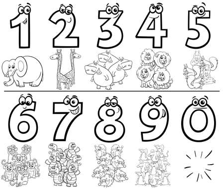 Black and White Cartoon Illustration of Educational Numbers Collection from One to Nine with Comic Wild Animal Characters Coloring Book Page