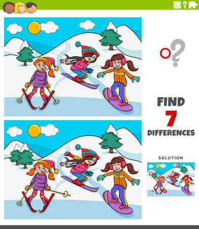 Cartoon Illustration of Finding Differences Between Pictures Educational Game for Kids with Three Girls on Skiing during Winter
