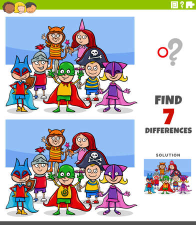 Cartoon Illustration of Finding Differences Between Pictures Educational Game for Kids with Comic Children Group at Costume Party