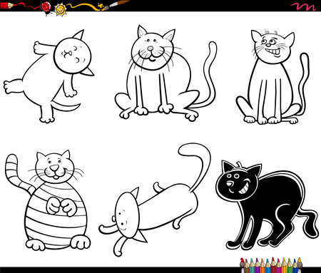 Black and White Cartoon Illustration of Funny Cats and Kittens Animal Characters Set Coloring Book Page