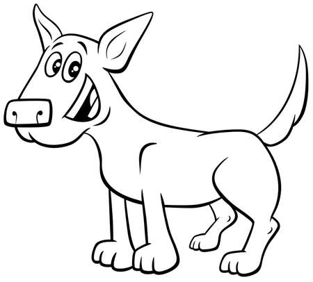 Black and White Cartoon Illustration of Funny Brown Dog or Puppy Comic Animal Character Coloring Book Page Ilustrace