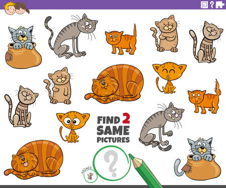 Cartoon Illustration of Find Two Same Pictures Educational Task for Children with Funny Cats and Kittens Animal Characters Illusztráció
