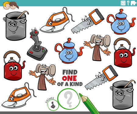 Cartoon Illustration of Find One of a Kind Picture Educational Game with Comic Object Characters Illusztráció