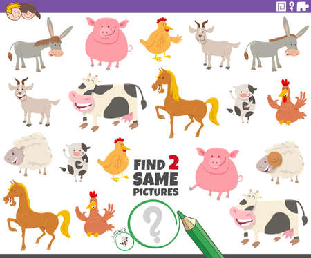 Cartoon Illustration of Finding Two Same Pictures Educational Game for Children with Funny Farm Animal Characters