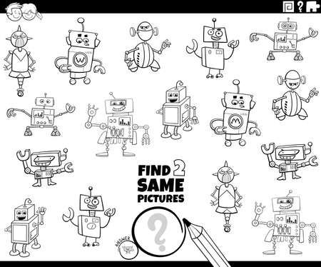 Black and White Cartoon Illustration of Find Two Same Pictures Educational Game for Children with Robots Fantasy Characters Coloring Book Page