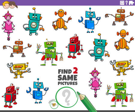 Cartoon Illustration of Find Two Same Pictures Educational Game for Children with Robots Fantasy Characters