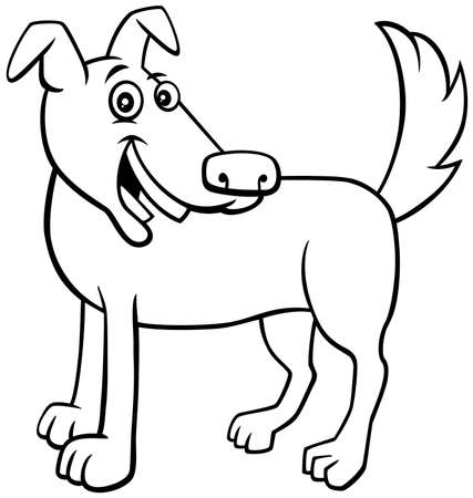 Black and White Cartoon Illustration of Happy Brown Dog or Puppy Comic Animal Character Coloring Book Page Ilustrace