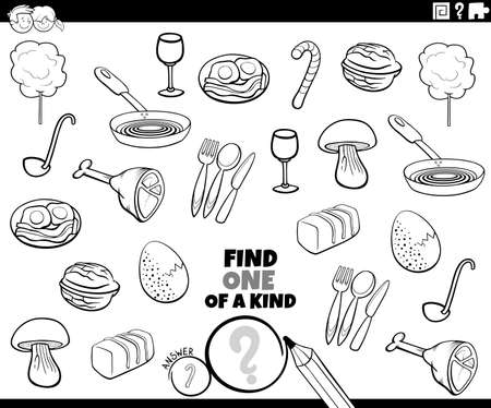Black and White Cartoon Illustration of Find One of a Kind Picture Educational Game with Food Objects and Utensils Coloring Book Page