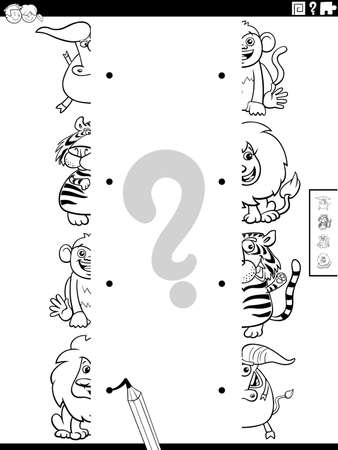 Black and White Cartoon Illustration of Educational Task of Matching Halves of Pictures with Comic Wild Animal Characters Coloring Book Page Illusztráció