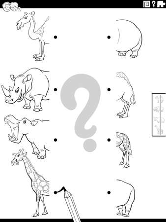 Black and White Cartoon Illustration of Educational Task of Matching Halves of Pictures with Funny Wild Animal Characters Coloring Book Page