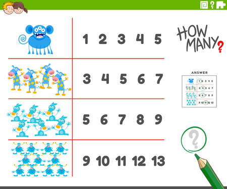 Cartoon Illustration of Educational Counting Activity for Children with Funny Monsters or Alien Characters