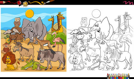 Cartoon Illustration of Wild Animal Characters Big Group Coloring Book Page