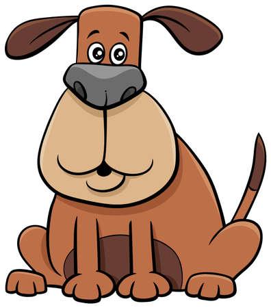 Cartoon Illustration of Funny Sitting Dog Comic Animal Character