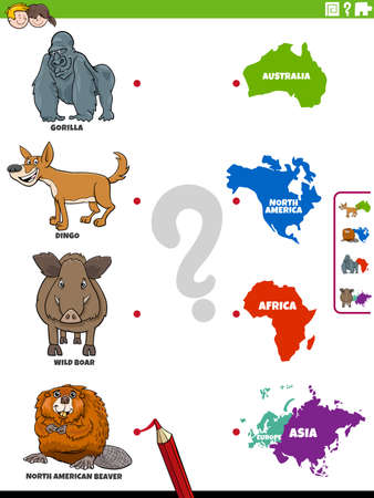 Cartoon Illustration of Educational Matching Game for Children with Wild Animal Species Characters and Continents