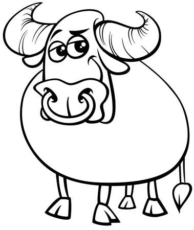 Black and White Cartoon Illustration of Funny Bull Farm Animal Comic Character Coloring Book Page Vektorové ilustrace